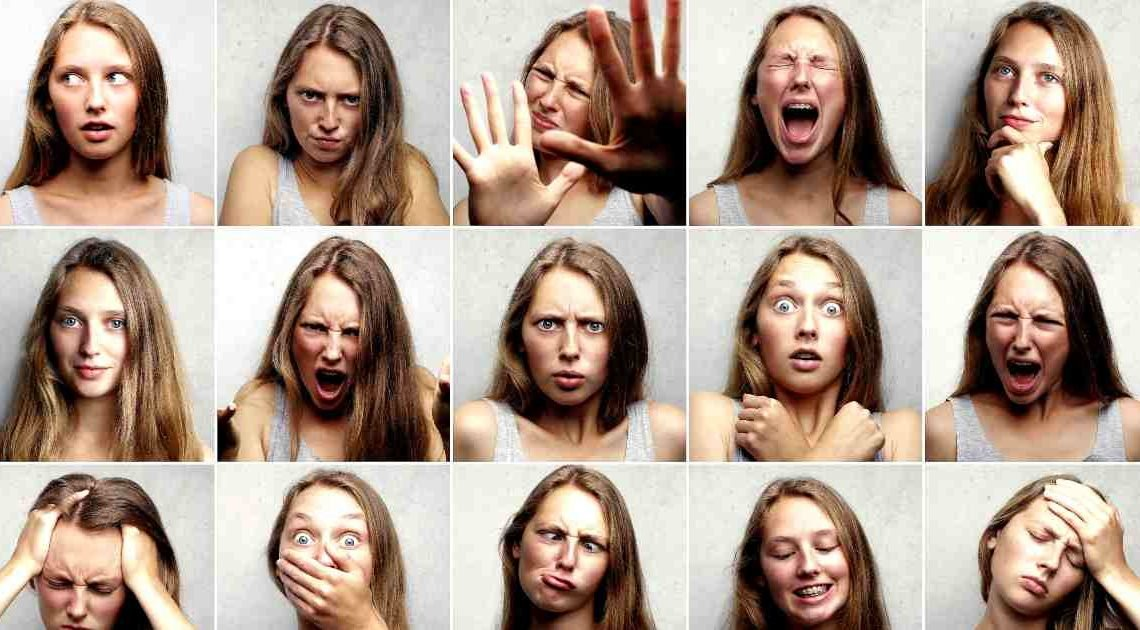 big five - openness and more - girl with many expressions