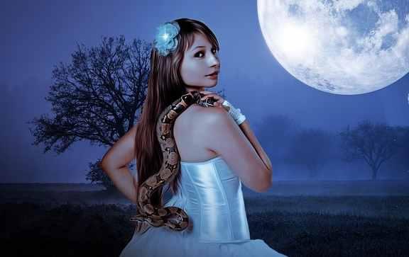 snake woman in moonlight