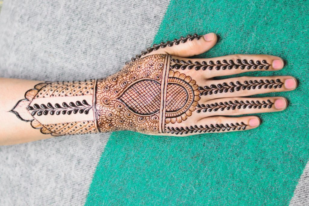 super intricate mehndi hand design for bride - back of hand and all fingers
